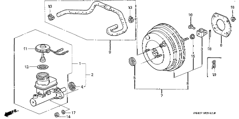 1996 civic DX 4 DOOR 5MT BRAKE MASTER CYLINDER  - MASTER POWER diagram