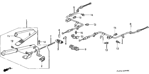 1996 civic DX 4 DOOR 5MT PARKING BRAKE diagram