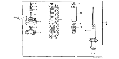 1996 civic LX 4 DOOR 5MT FRONT SHOCK ABSORBER diagram