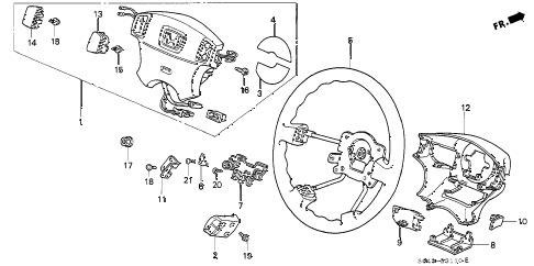 1996 civic DX 4 DOOR 5MT STEERING WHEEL (SRS) diagram
