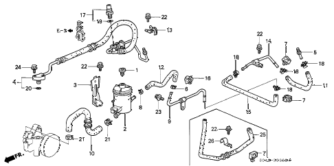 1996 civic LX 4 DOOR 5MT P.S. PIPE diagram