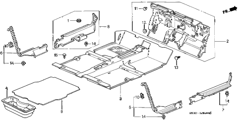 1996 civic DX 4 DOOR 5MT FLOOR MAT diagram