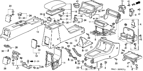 1996 civic LX 4 DOOR 5MT CONSOLE diagram
