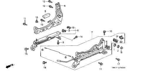 1996 civic LX 4 DOOR 5MT FRONT SEAT COMPONENTS (R.) diagram