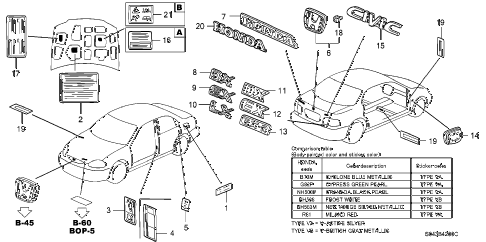 1996 civic DX 4 DOOR 5MT EMBLEMS diagram