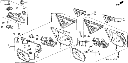 1996 civic DX 4 DOOR 5MT MIRROR (1) diagram