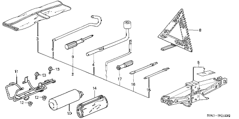 1996 civic DX 4 DOOR 5MT TOOLS - JACK diagram