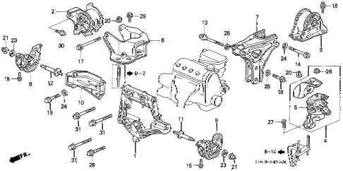 1996 civic LX 4 DOOR 5MT MT ENGINE MOUNT diagram