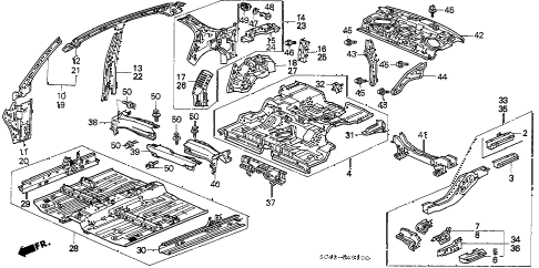 1996 civic LX 4 DOOR 5MT INNER PANEL diagram
