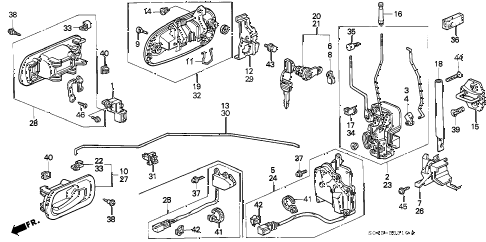1996 civic LX 4 DOOR 5MT FRONT DOOR LOCKS diagram