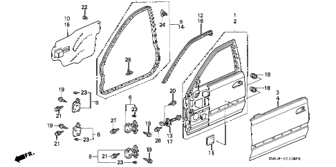 1997 civic LX(A/C) 4 DOOR 5MT FRONT DOOR PANELS diagram