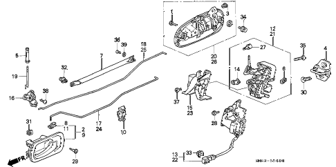 1996 civic DX 4 DOOR 5MT REAR DOOR LOCKS diagram