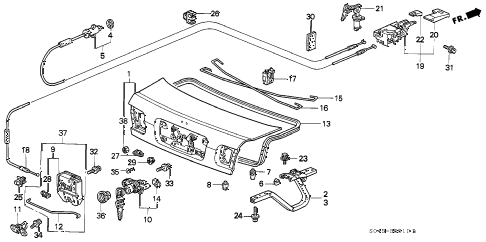 1996 civic LX 4 DOOR 5MT TRUNK LID diagram