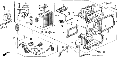 1997 civic LX(A/C) 4 DOOR 5MT A/C UNIT (1) diagram