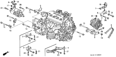 1996 civic DX 4 DOOR 5MT ALTERNATOR BRACKET - ENGINE STIFFENER diagram