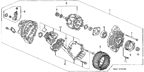 1996 civic LX 4 DOOR 5MT ALTERNATOR (MITSUBISHI) diagram