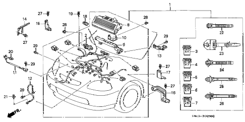 1996 civic DX 4 DOOR 5MT ENGINE WIRE HARNESS diagram