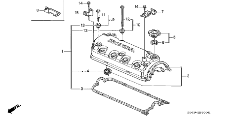 1996 civic DX 4 DOOR 5MT CYLINDER HEAD COVER diagram