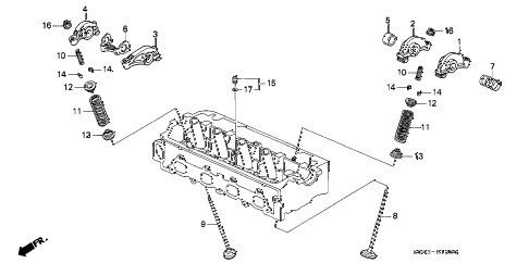 1997 civic LX(A/C) 4 DOOR 5MT VALVE - ROCKER ARM (SOHC) diagram