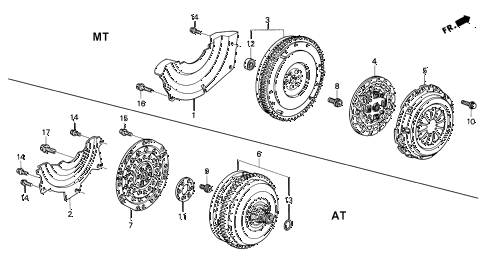 1997 civic LX(A/C) 4 DOOR 5MT CLUTCH - TORQUE CONVERTER diagram