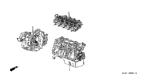 1997 civic LX(A/C) 4 DOOR 5MT ENGINE ASSY. - TRANSMISSION ASSY. diagram
