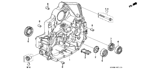 1997 civic LX(A/C) 4 DOOR 5MT MT CLUTCH HOUSING diagram