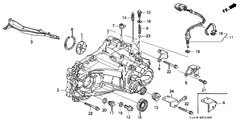 1996 civic DX 4 DOOR 5MT MT TRANSMISSION HOUSING diagram