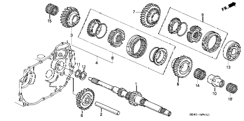1997 civic LX(A/C) 4 DOOR 5MT MT MAINSHAFT diagram