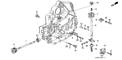 1996 civic DX 4 DOOR 5MT MT SHIFT ROD - SHIFT HOLDER diagram