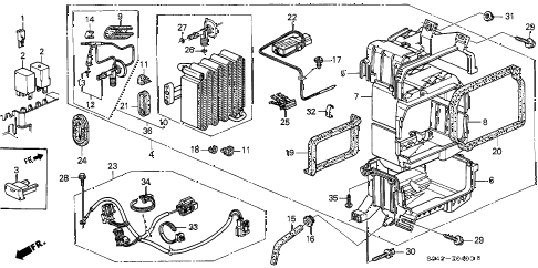 1996 civic LX 4 DOOR 5MT A/C COOLING UNIT diagram