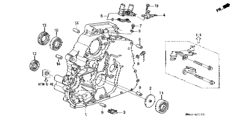 1999 civic GX 4 DOOR 4AT AT TORQUE CONVERTER HOUSING diagram