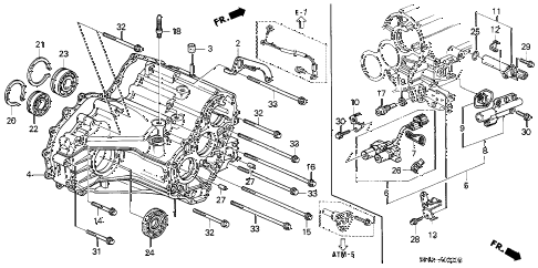 1998 civic GX 4 DOOR 4AT AT TRANSMISSION HOUSING diagram