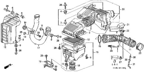1998 civic GX 4 DOOR 4AT AIR CLEANER (2) diagram