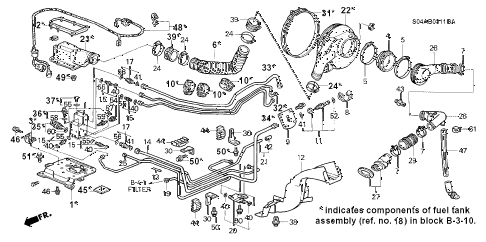 1998 civic GX(ABS) 4 DOOR 4AT FUEL TANK (CNG COMPONENT PARTS) diagram