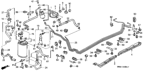 1999 civic LX 4 DOOR 5MT FUEL PIPE (2) diagram
