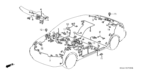 1999 civic EX 4 DOOR 5MT WIRE HARNESS diagram