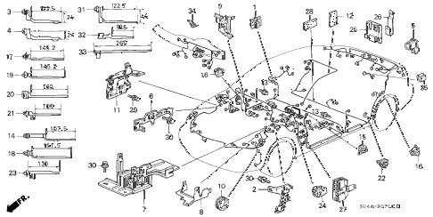 1998 civic GX 4 DOOR 4AT HARNESS BAND - BRACKET diagram