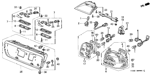 1998 civic DX 4 DOOR 5MT TAILLIGHT (1) diagram