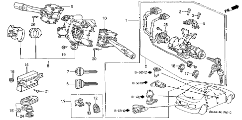 1998 civic LX 4 DOOR 5MT COMBINATION SWITCH diagram