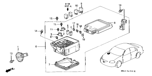 1998 civic GX 4 DOOR 4AT CONTROL UNIT (ENGINE ROOM) diagram