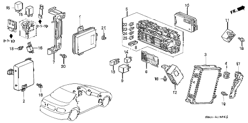 1998 civic LX 4 DOOR 5MT CONTROL UNIT (CABIN) diagram