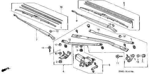 1998 civic LX 4 DOOR 5MT FRONT WINDSHIELD WIPER (1) diagram