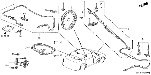 1998 civic LX 4 DOOR 5MT ANTENNA - SPEAKER diagram