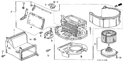 1998 civic LX 4 DOOR 5MT HEATER BLOWER diagram