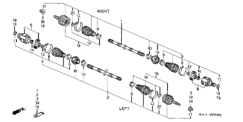 1998 civic LX 4 DOOR 5MT DRIVESHAFT (1) diagram