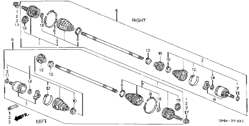 2000 civic DX-V 4 DOOR 4AT DRIVESHAFT (2) diagram