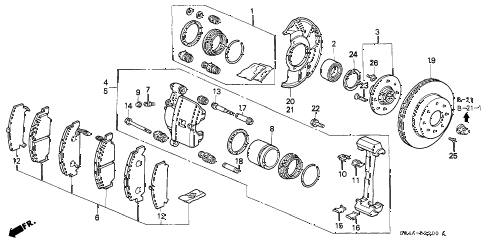 1998 civic GX(ABS) 4 DOOR 4AT FRONT BRAKE (1) diagram