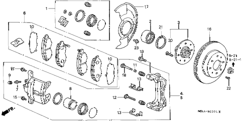 1999 civic EX 4 DOOR 5MT FRONT BRAKE (2) diagram