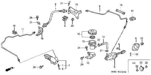 2000 civic EX 4 DOOR 5MT CLUTCH MASTER CYLINDER diagram