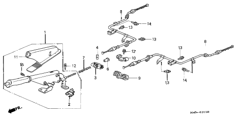 1998 civic GX 4 DOOR 4AT PARKING BRAKE diagram